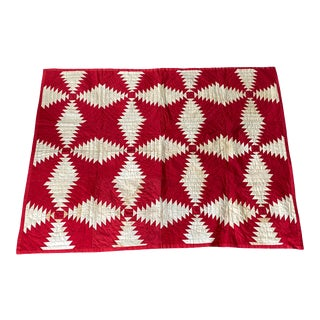 19th Century Textile, Red & White Geometric Crib Quilt For Sale
