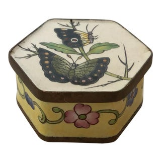 Vintage Six-Sided Enameled Decorative Collectible Lidded Box For Sale