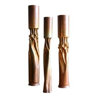 """""""Tortured"""" Metal Candlesticks - Set of 3"""