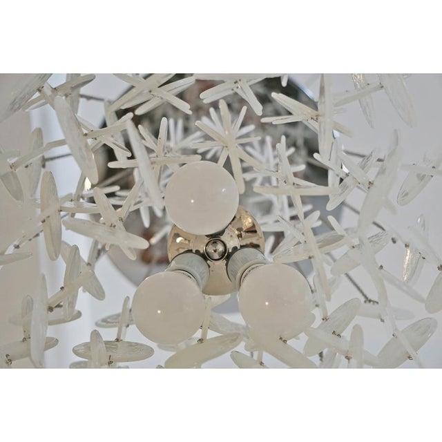 1970s Mazzega Murano Cascade White Glass Disk Chandelier For Sale - Image 5 of 9