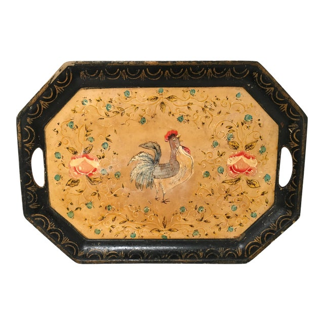 Vintage Paper Mache Rooster Motif Tray - Image 1 of 7