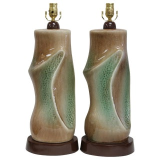 Pair of Ceramic Brown and Green Lamps For Sale