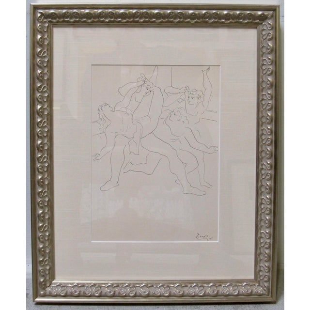"Glass 1940s Vintage Pablo Picasso ""Four Dancers"" Ballet Signed Original Lithograph Print For Sale - Image 7 of 7"