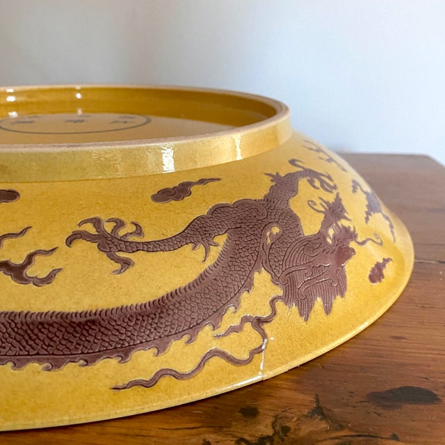 Early 20th Century Chinese Imperial Yellow Craquelure Plate With Eggplant Colored Dragons For Sale - Image 4 of 7