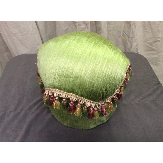 Green Velvet Tassel Ottoman For Sale - Image 5 of 7