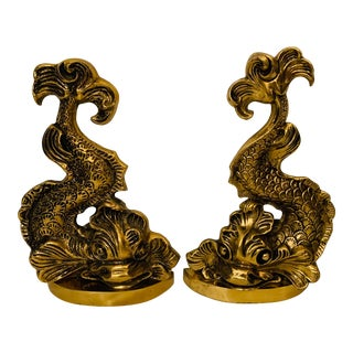 Vintage Mid 20th Century Hollywood Regency Brass Dolphin Andirons/Door Stops - a Pair For Sale