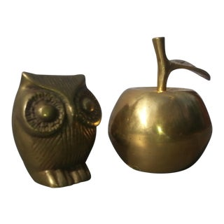Brass Bell Apple & Owl Paper Weights - A Pair