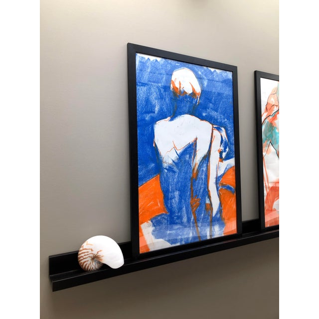 """Contemporary Figure Drawing in Blue and Orange Pastel, """"Seated Figure in Blue and Orange"""" by Artist David O. Smith For Sale - Image 4 of 11"""