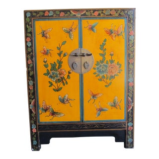 20th Century Asian Hand-Painted Yellow Shoe Cabinet