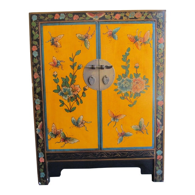 20th Century Asian Hand-Painted Yellow Shoe Cabinet For Sale
