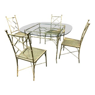 Phyllis Morris Bamboo Patio Table & Chairs For Sale