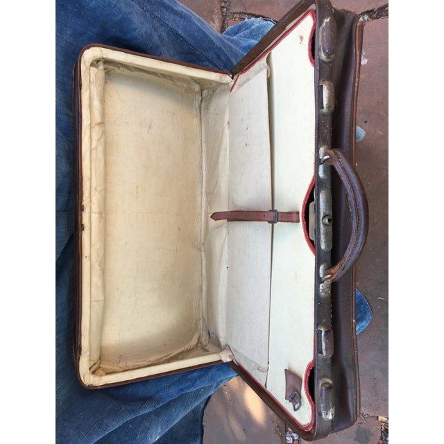 1940's English Leather Suitcase For Sale - Image 4 of 9