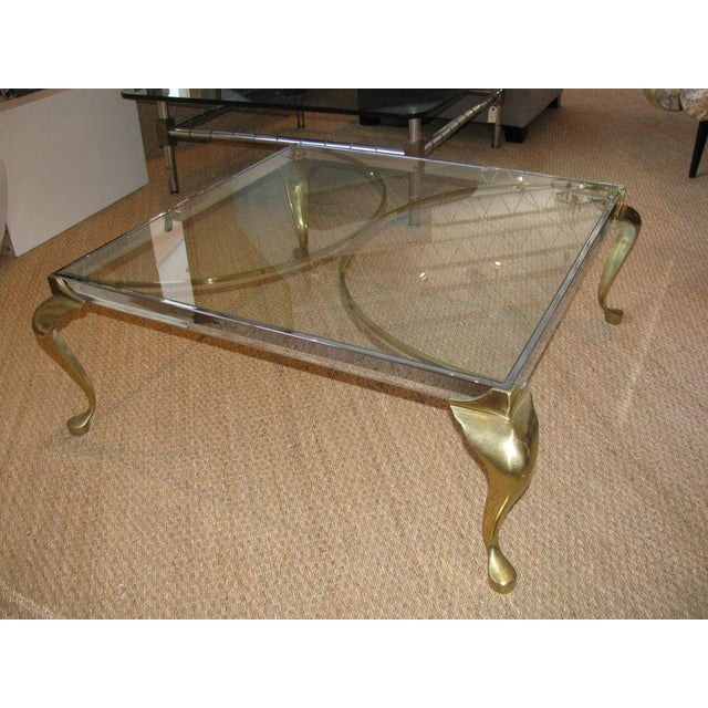 Two Toned Brass And Chrome Coffee Table