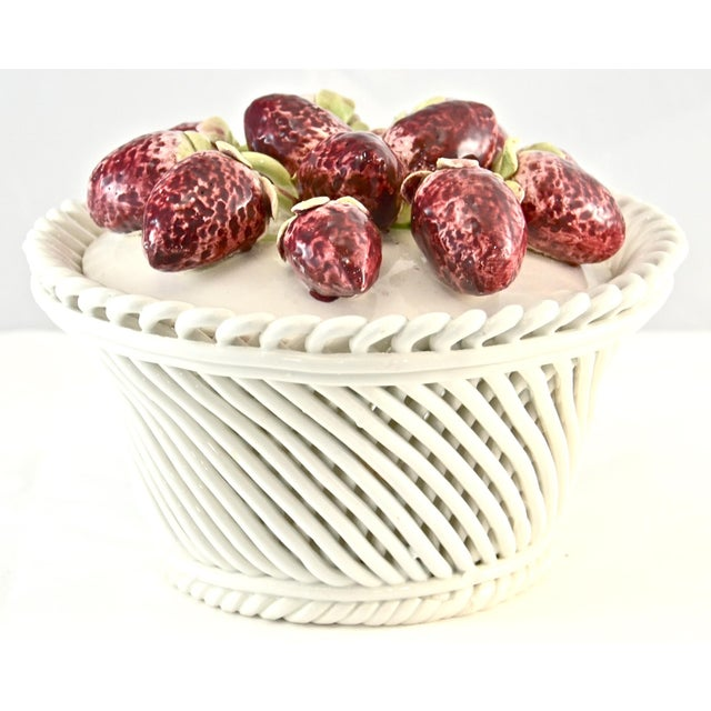 Italian artisan crafted vintage Capodimonte pottery strawberry top basket design ceramic bowl with lid. Incised mark...