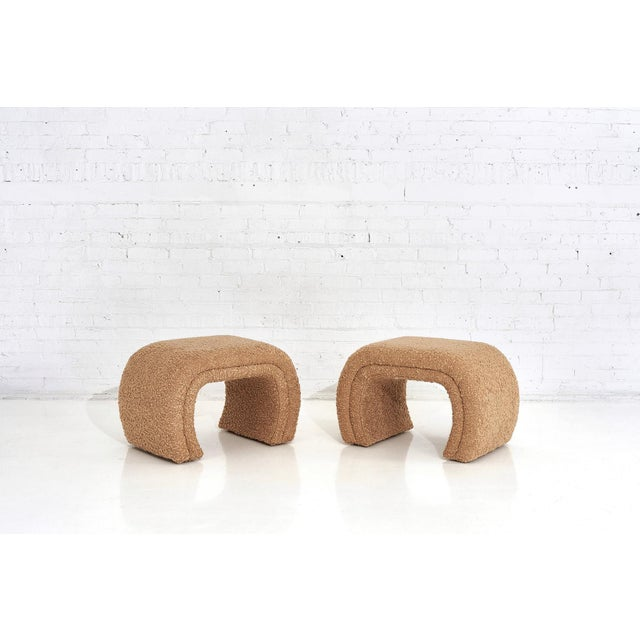 Tan Vladimir Kagan for Directional, Waterfall Stools in Tan Boucle, 1990 For Sale - Image 8 of 8