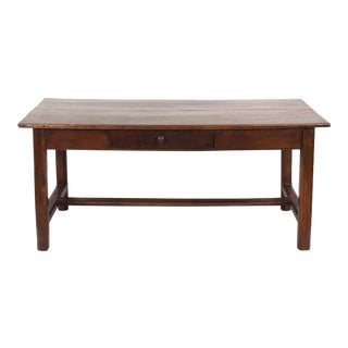 19th C. Rustic Chestnut Farm Table With Stretcher Base For Sale