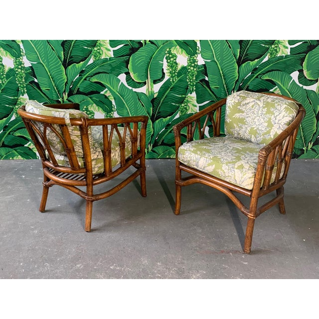 Pair of Bamboo Club Chairs in the Style of McGuire For Sale - Image 11 of 12