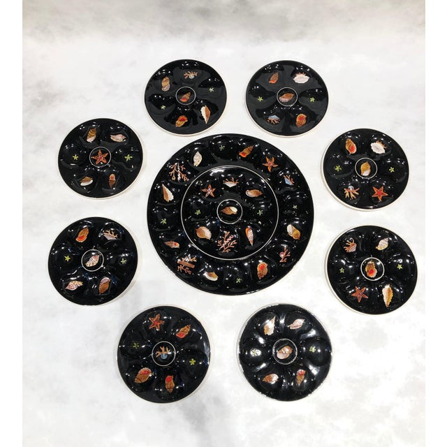 Paint 1960s Oyster Plates Set by Trevoux, Henriot Quimper, French Majolica - Set of 9 For Sale - Image 7 of 7