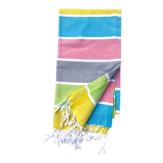 Turkish Tamam Lemonade Stripes Handwoven Cotton Towel For Sale