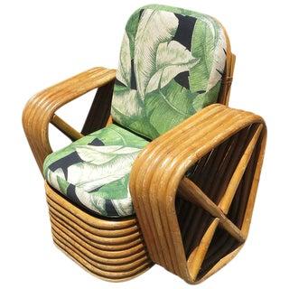Restored Child's Paul Frankl Square Pretzel Rattan Lounge Chair For Sale