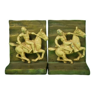 1930s Art Deco Polo Player Gilt Bookends - a Pair For Sale