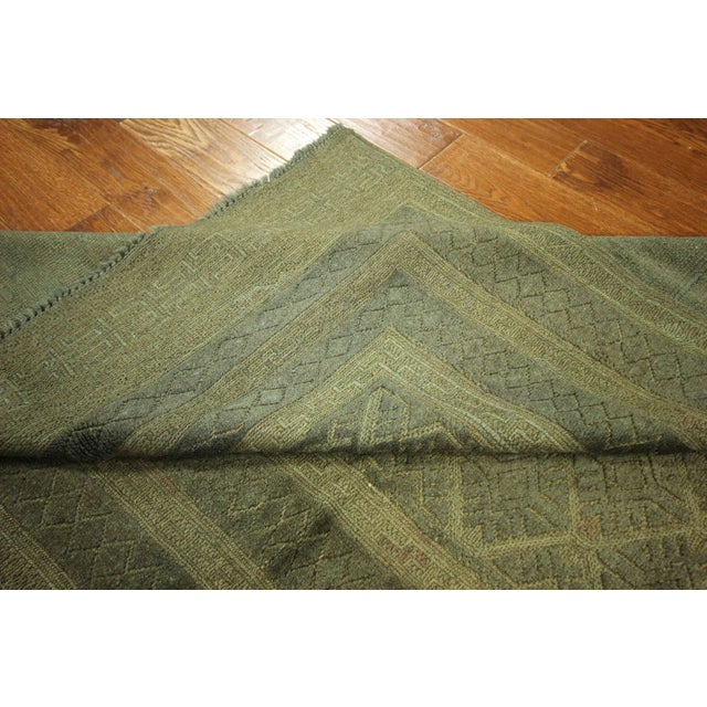 "Overdyed Geometric Green Wool Rug - 4'6"" x 6' - Image 7 of 8"