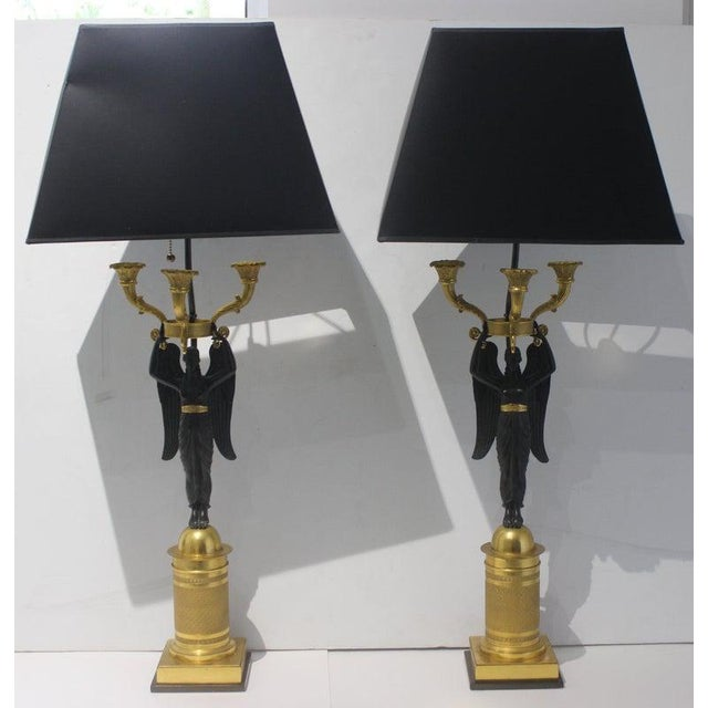 Early 19th Century Antique French Empire Bronze Candelabra Lamps - a Pair For Sale - Image 5 of 13