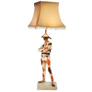 Marbro Harlequin Figural Lamp with Glass Beaded Shade For Sale