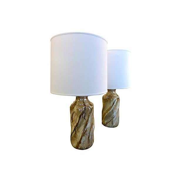 Ceramic Faux Marble Table Lamps - A Pair - Image 2 of 5