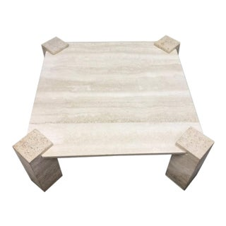 1960s Hollywood Regency Travertine Coffee Table For Sale