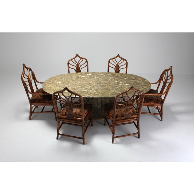 Regency Set of Italian Bamboo Dining Chairs With Floral Cushions For Sale - Image 12 of 13