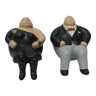 """""""After the Party"""" Vintage Ceramic Windowsill Figures Signed by the Artisan - a Set of 2 For Sale"""