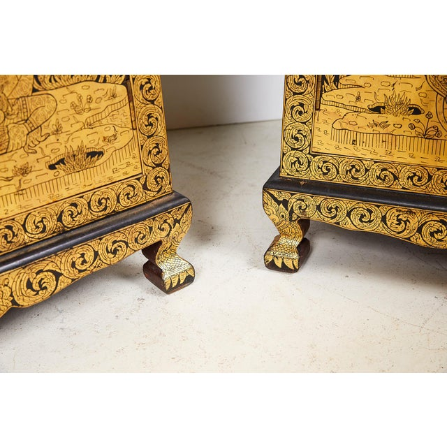 Wood Pair of Thai Manuscript Cabinets of Lacquer and Gold Leaf, 20th Century For Sale - Image 7 of 13