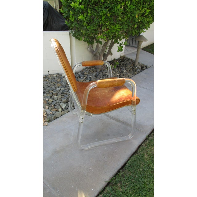 Hill Manuf Lucite and Leather Club Chair - Custom Piece For Sale - Image 10 of 13