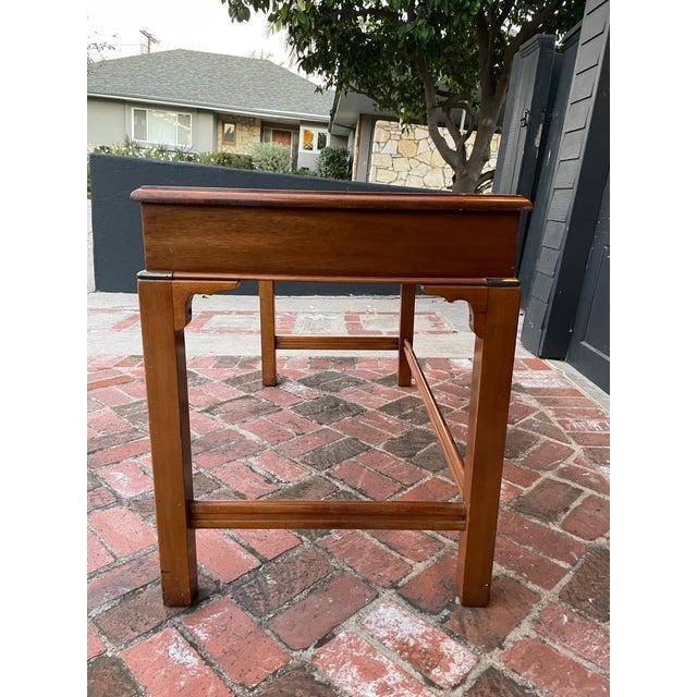 Lane Furniture Vintage Lane Altavista Mahogany, Brass, Leather Desk For Sale - Image 4 of 9