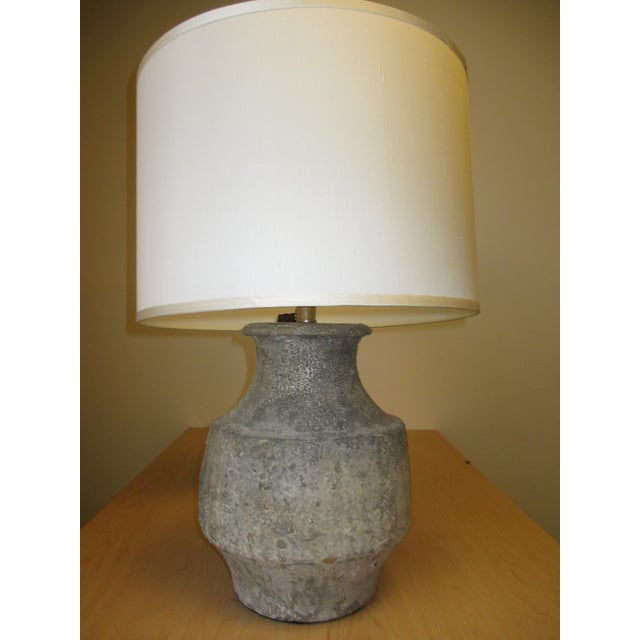 "Grey crackled ceramic base 14.5"" h, footprint 7"" dia. 3-way socket/ clear cord/ max. 150 watts."