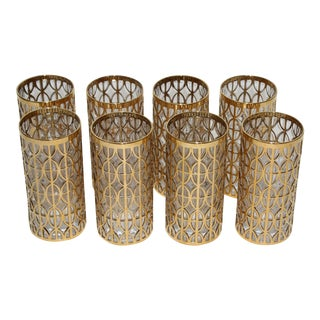 """""""El Tabique De Oro"""" 22k Gold Overlay Fretwork Highball Tumblers by Imperial Glass - a Set of 8 For Sale"""