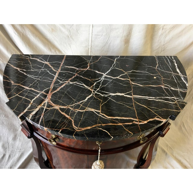 Metal Henredon Natchez Demilune Console With Marble Top For Sale - Image 7 of 11