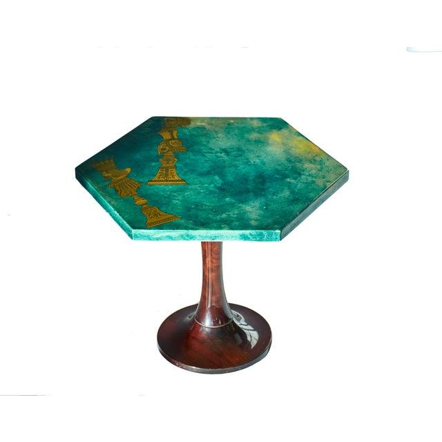 1950's Aldo Tura Hexagonal Side Table For Sale - Image 11 of 11