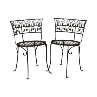 Salterini Vintage Wrought Iron Pair Curved Back Garden Chairs For Sale