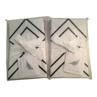 Serena & Lily White & Navy Standard Sutton Embroidered Shams - a Pair For Sale