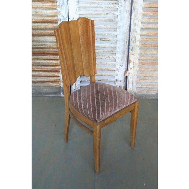 Set of Six Linen Fold Oak Side Chairs - Image 3 of 8