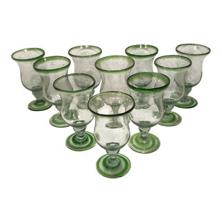 1980s Handblown Green Glass Goblets - Set of 10 For Sale