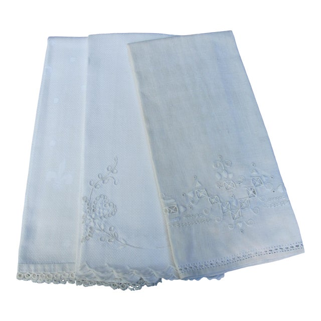 1950s Linen Guest Hand Towels - Set of 3 For Sale
