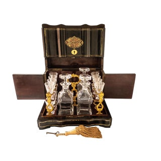 Antique French Gilt Bronze Tantalus Box with Baccarat Crystal Cordials & Decanters Set of 16 For Sale