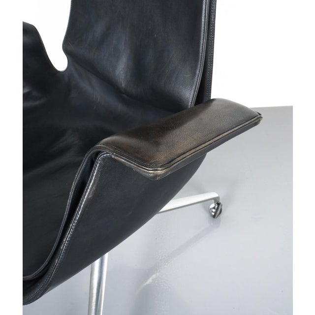 1960s Black Blue High Back Bird Desk Chair by Fabricius and Kastholm Fk 6725, 1964 For Sale - Image 5 of 12