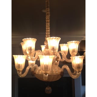 1940s 12-Light Venetian Hand-Blown Glass Chandelier Preview
