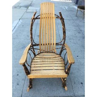Late 20th Century Rustic Adirondack Oak and Hickory Twig Rocking Chair Preview