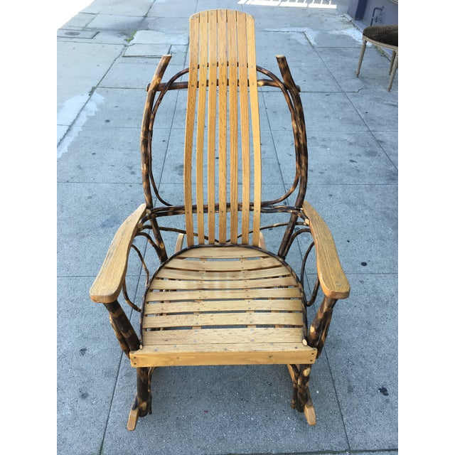 Rustic Cabin Rocking Chair! Adirondack Oak salt and Hickory branch rocker in excellent condition with maker's signature on...