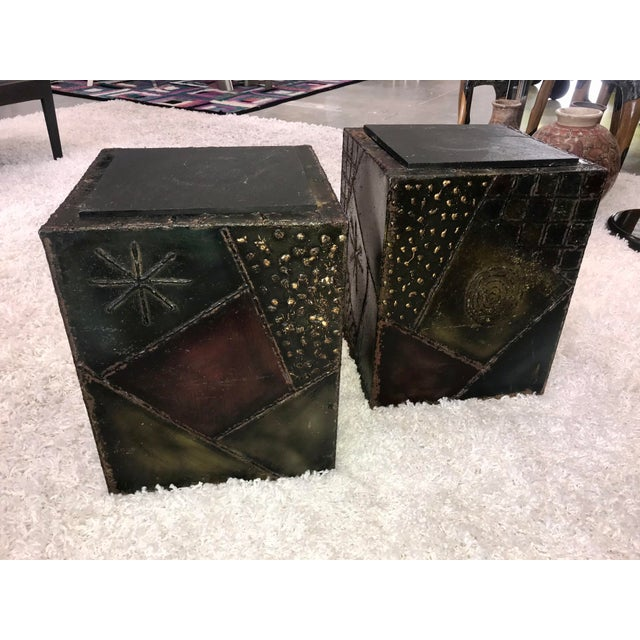 Signed Paul Evans Sculpted Steel Side Tables - Pair For Sale - Image 11 of 11